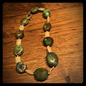 Jewelry - handmade beaded turquoise, seed pearl necklace